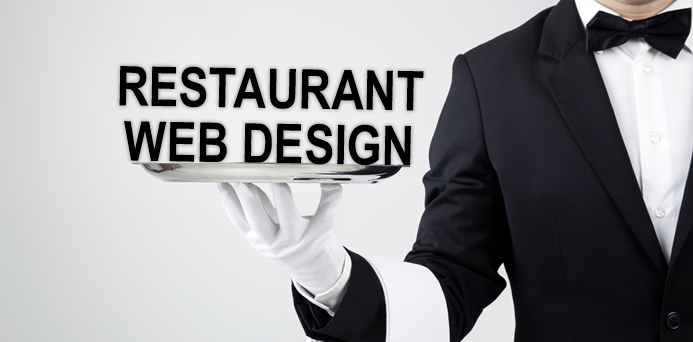 restaurant web design graphic waiter holding platter